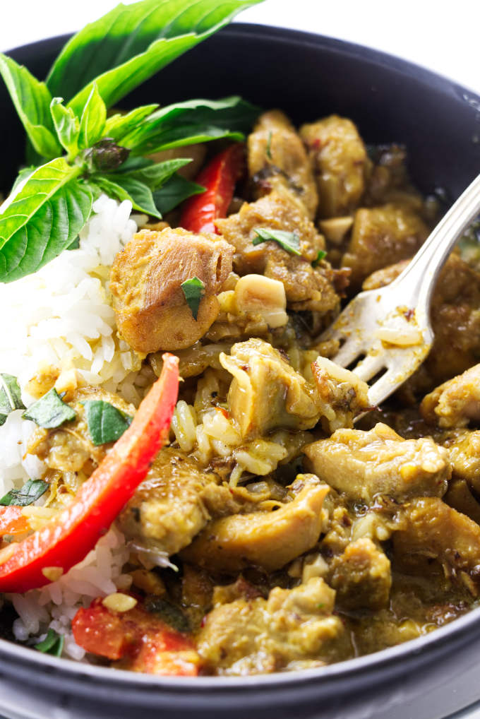 Close up view of Thai coconut chicken curry with a fork
