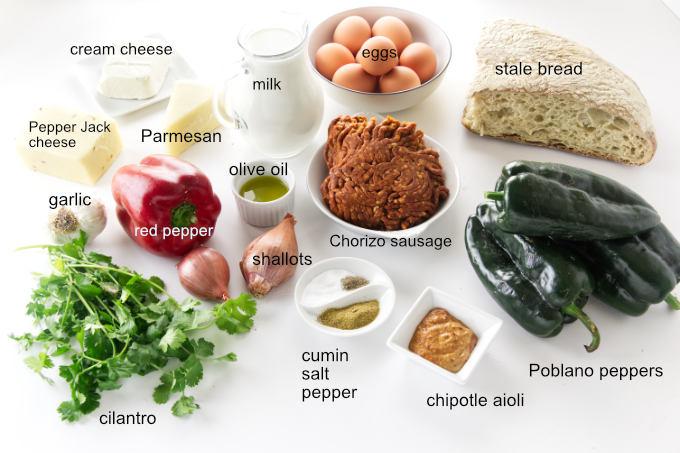Ingredients to make Poblano=Chorizo Strata