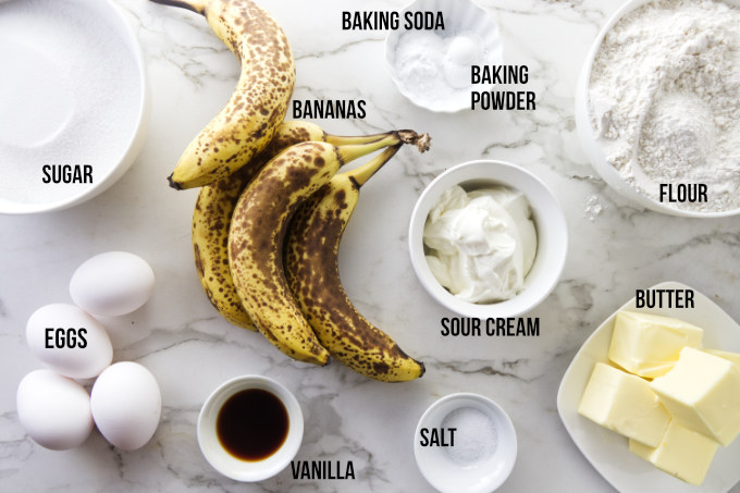 Ingredients for a double layer banana cake.