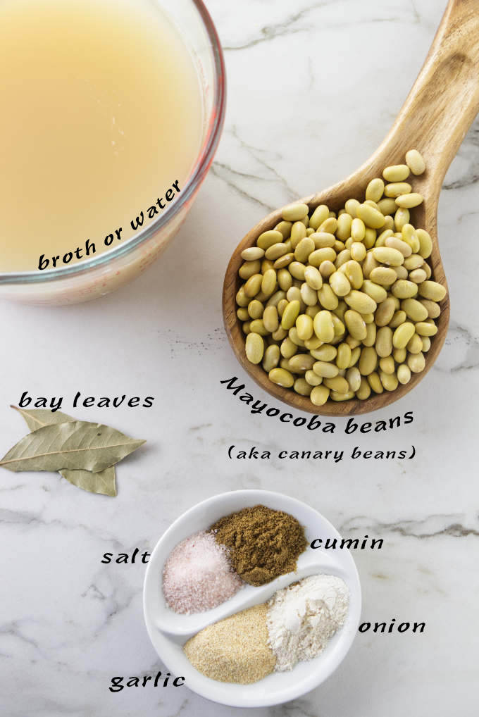Ingredients used for Instant Pot Mayocoba beans.
