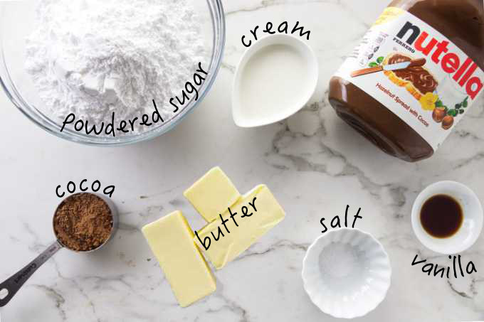 Ingredients for Nutella buttercream.