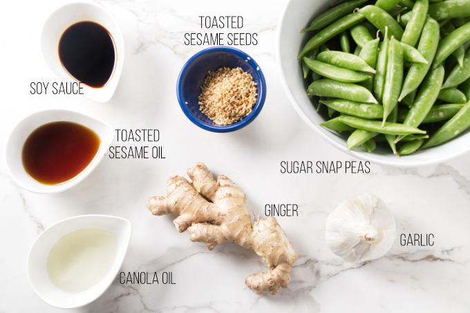 Ingredients needed for sesame snap peas.