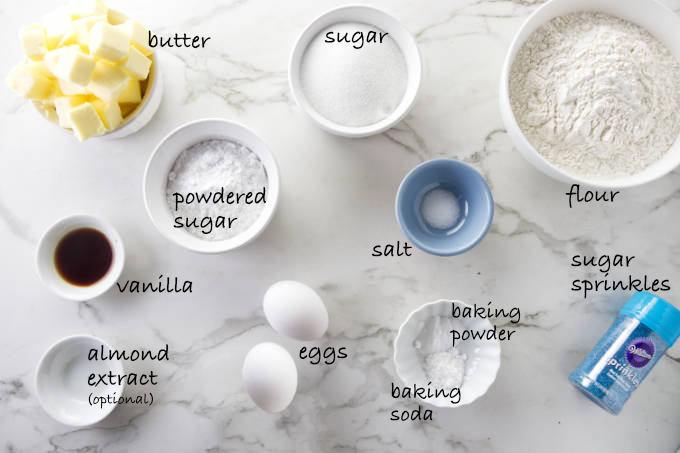 Ingredients needed for soft sugar cookies.