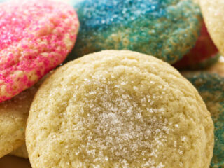 Soft sugar cookies with pink and blue sugar.