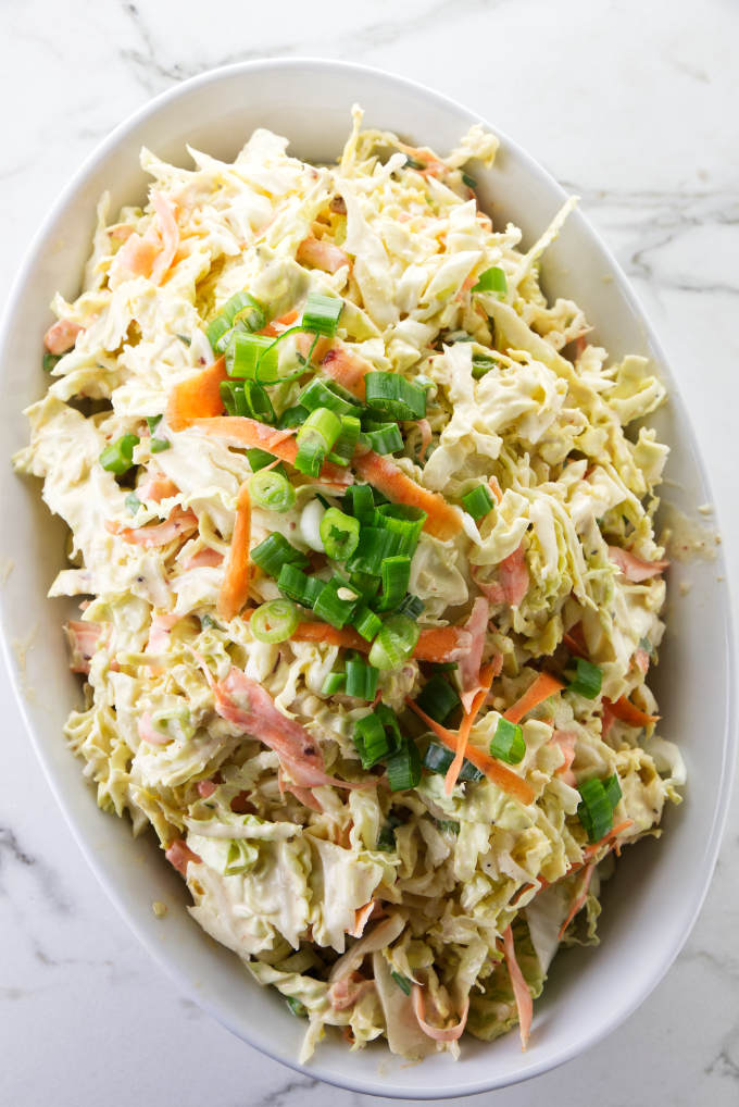 Chipotle coleslaw in a serving dish.