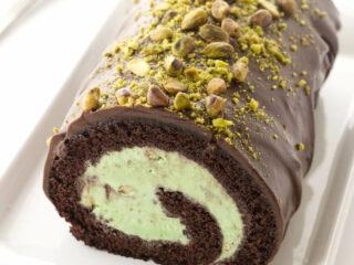Overhead view of Chocolate Pistachio Ice Cream Cake Roll