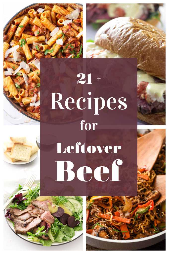 A photo collage with roast beef recipes.