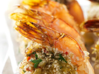 A close up shot of a stuffed shrimp.