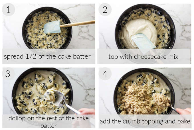 A collage of four photos showing how to make a blueberry coffee cake cheesecake.