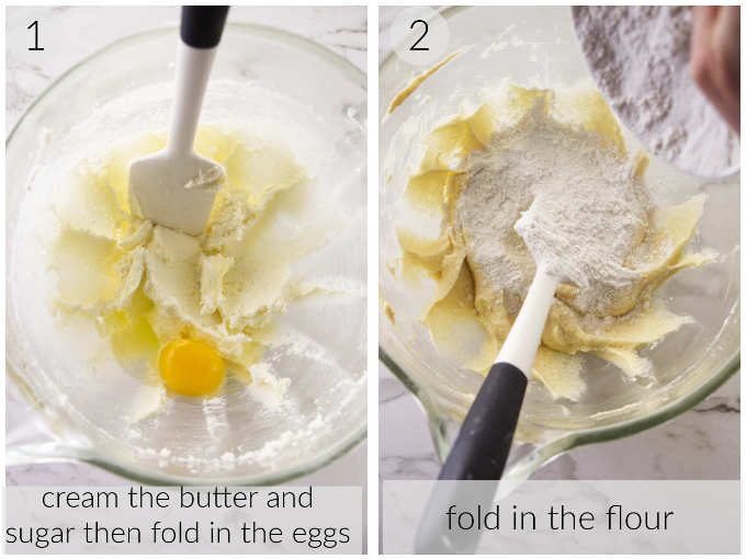 Two photos showing how to make the batter for blueberry buckle.