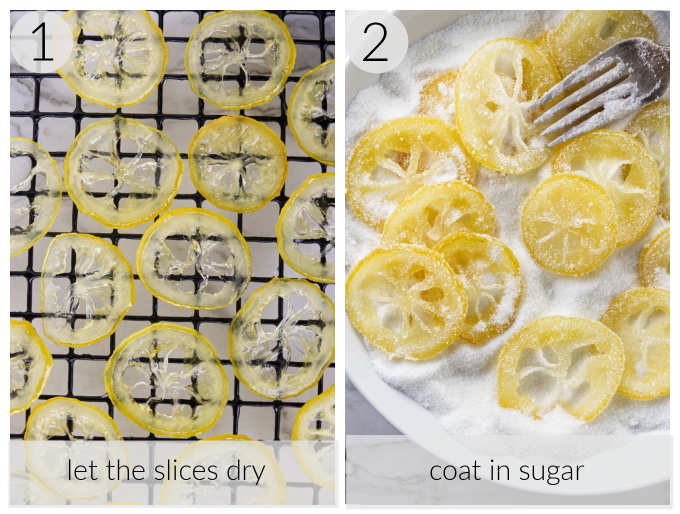 A collage of two process photos showing the steps for making candied lemon slices.