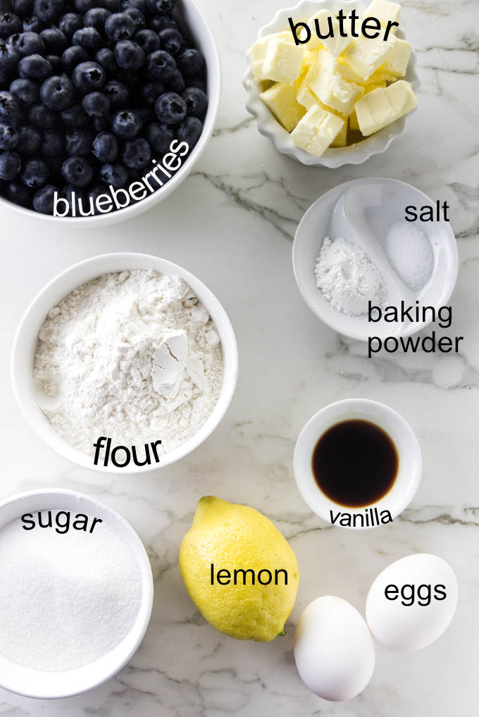 Ingredients used for blueberry buckle cake.