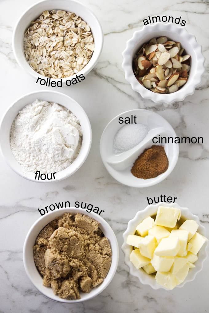 Ingredients used for the streusel topping on a blueberry buckle.