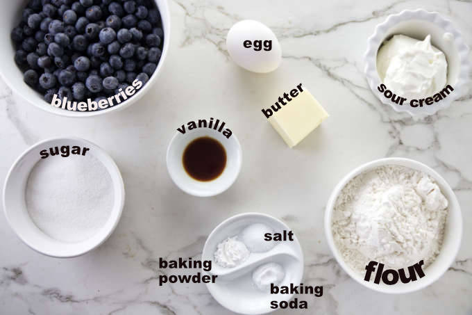 All the ingredients labeled for the blueberry cake.
