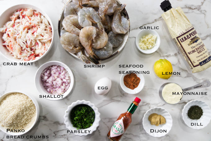 Ingredients needed for crab stuffed shrimp.