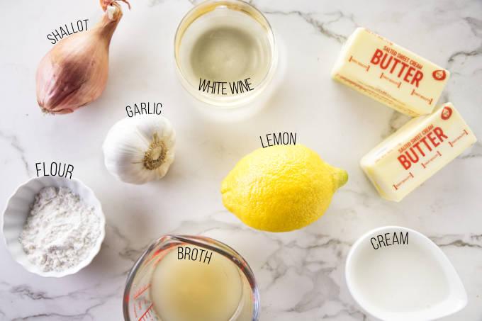 Ingredients used to make lemon garlic butter sauce.