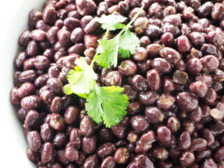 Red adzuki beans in a serving dish.
