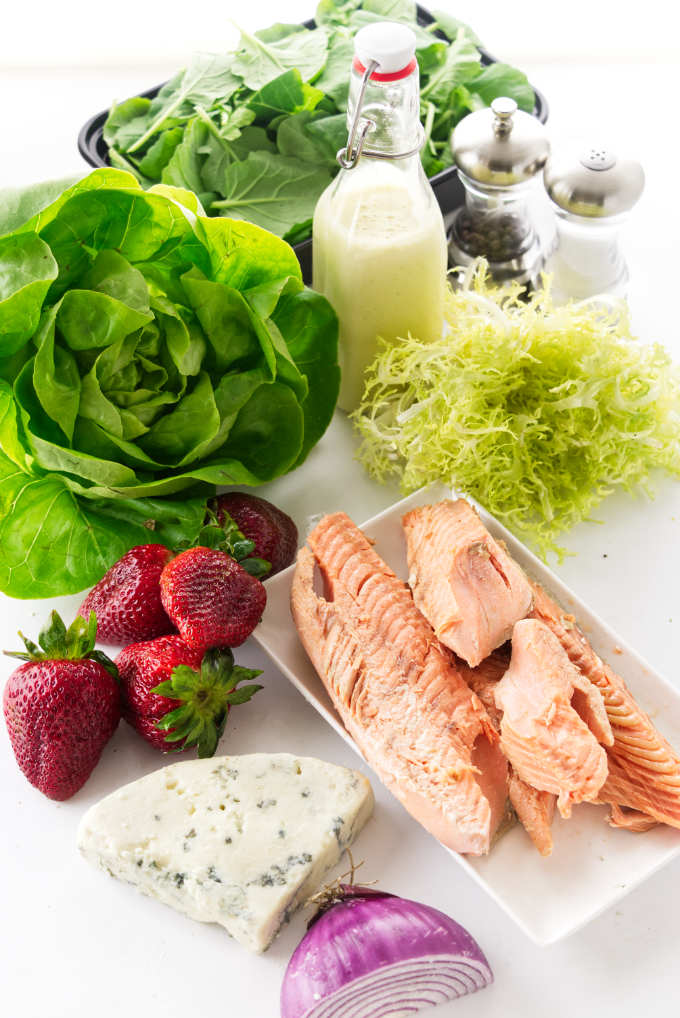 Ingredients for Salmon Salad with Strawberries and Preserved Lemon Vinaigrette