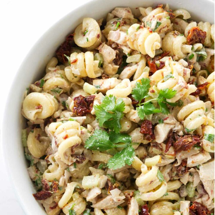 A dish filled with chicken chipotle pasta salad.