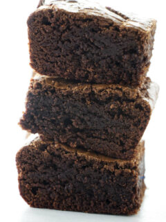 A stack of thick brownies.