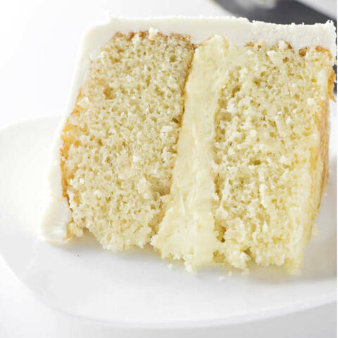 A slice of yellow cake from a 6 inch round cake.