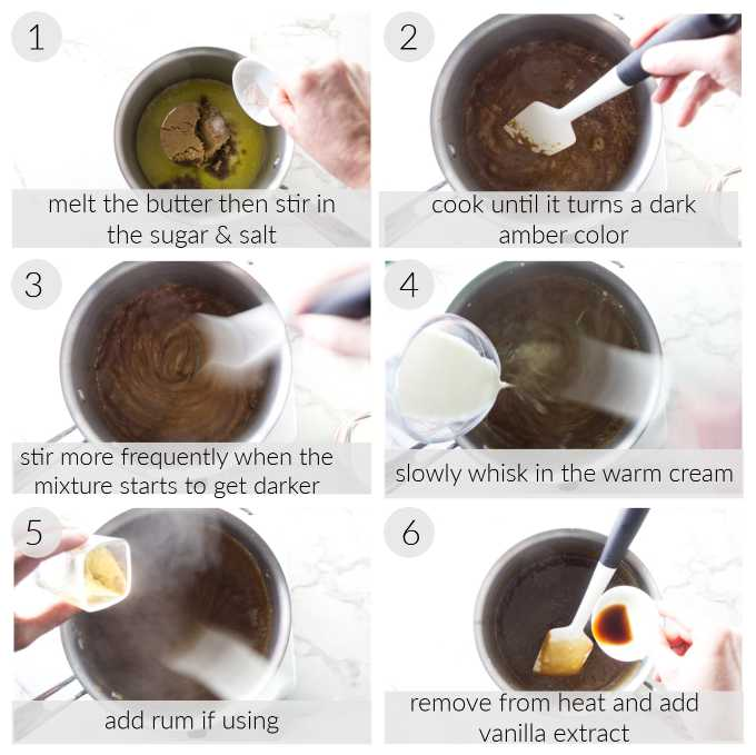 Collage of six photos showing how to make butterscotch sauce.