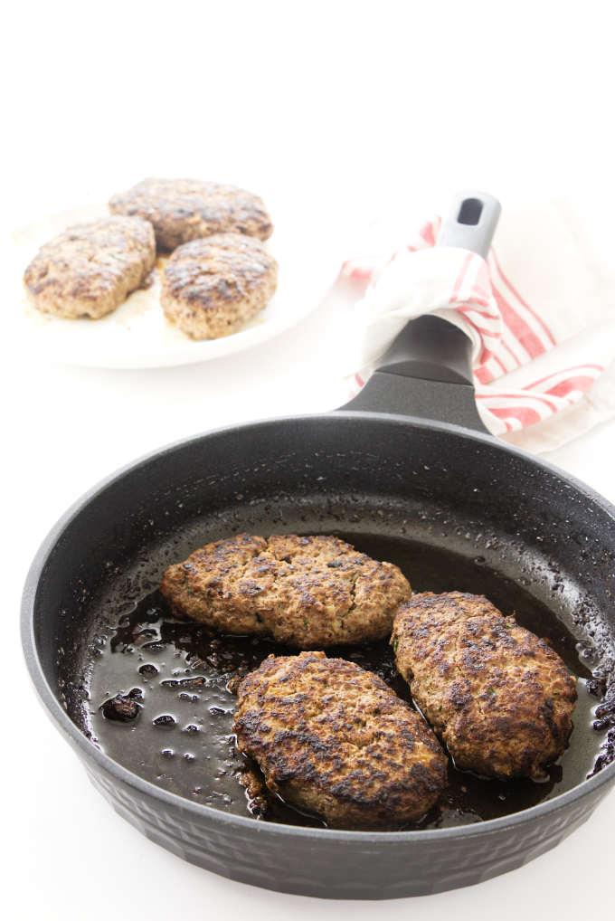 browned salisbury steak in skillet