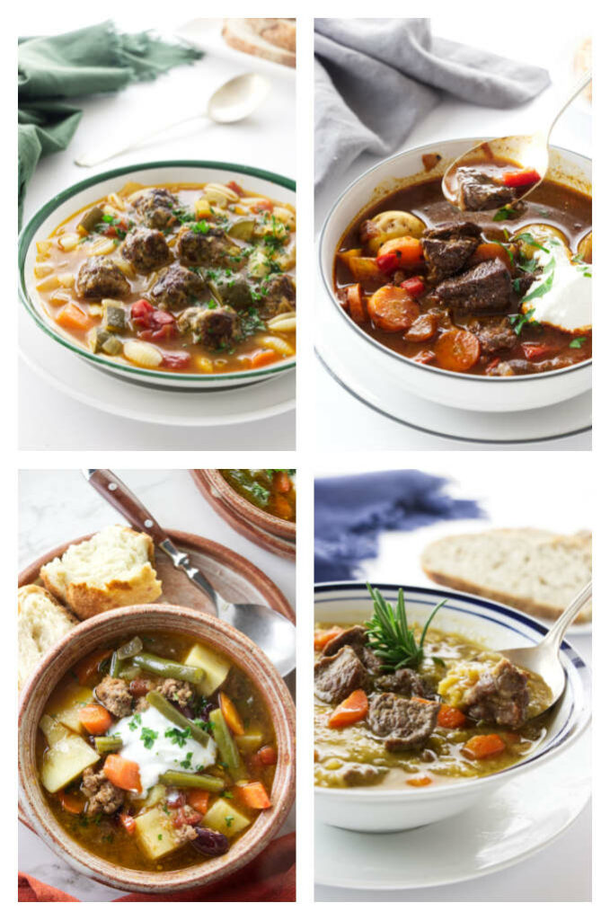 A collage of four photos of beef or lamb soups.