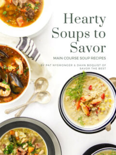 A photo showing the cover of a soup cookbook.