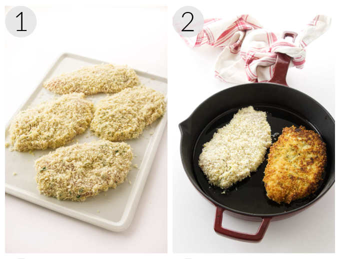 Collage showing a plate of breaded cutlets and a photo of 2 cutlets in a skillet