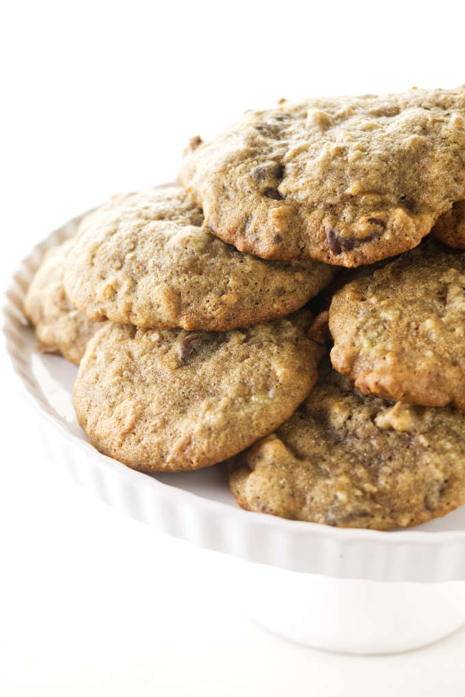 A plate filled with banana cookies.
