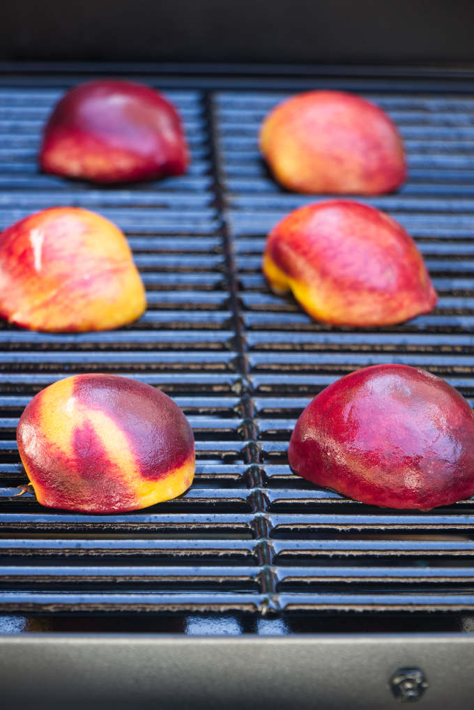 Peaches on a hot grill.