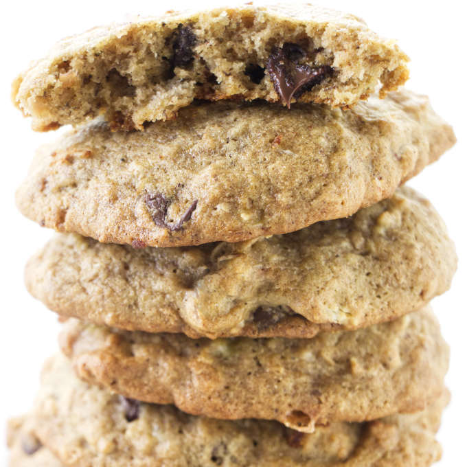 A stack of gluten free banana cookies with chocolate chips.