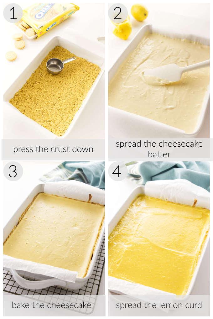 Processing photos for lemon cheesecake bars