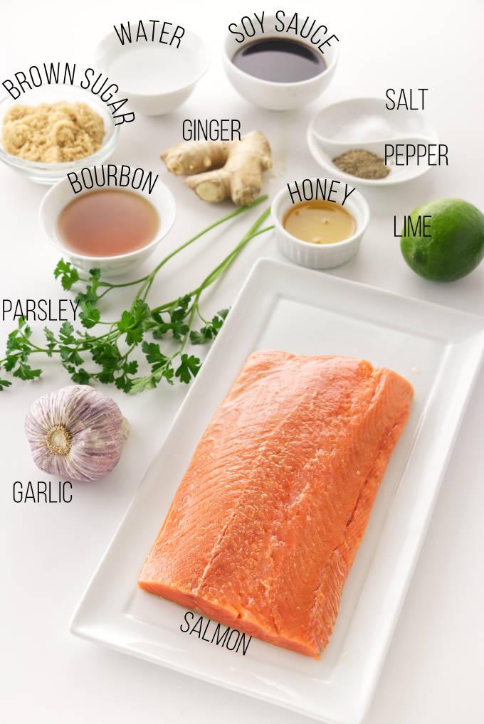 Ingredients needed for bourbon glazed salmon.
