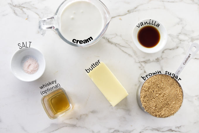 Ingredients needed to make butterscotch sauce or toffee sauce.