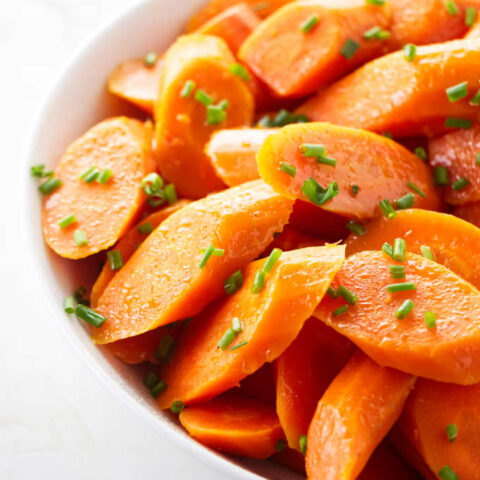 A serving dish of Instant Pot steamed carrots.