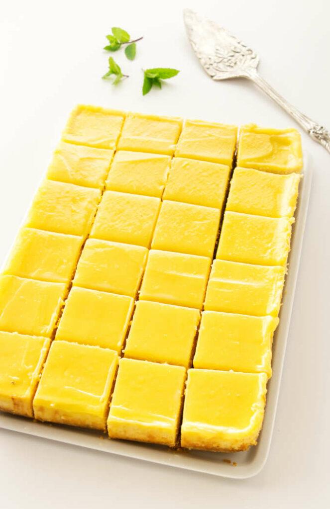 lemon cheesecake cut into serving sizes