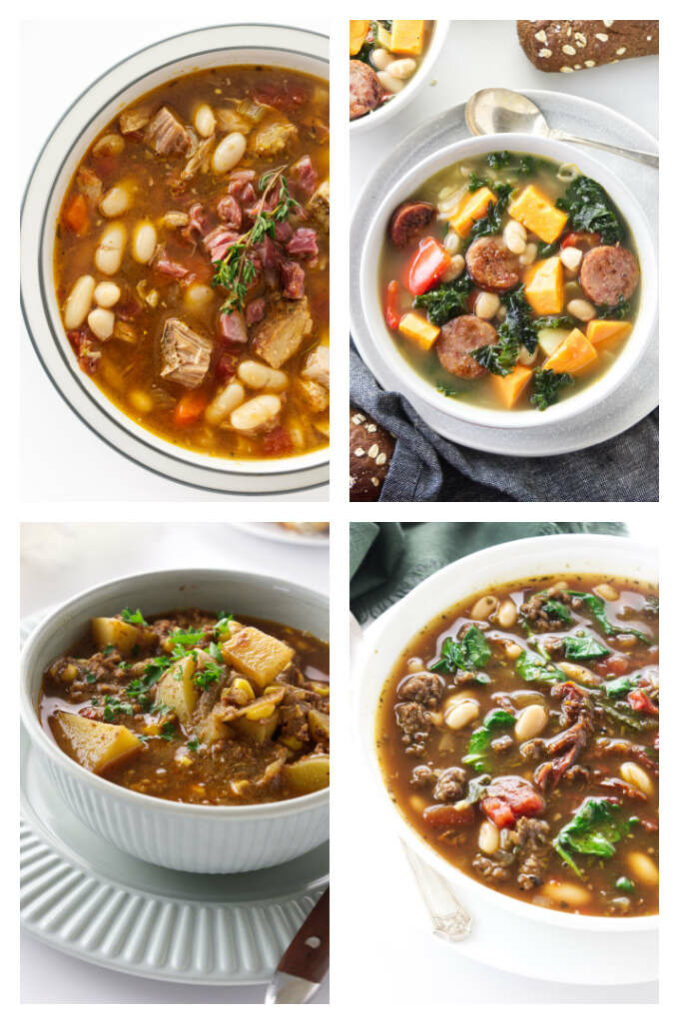 A collage of four photos of sausage and pork based soups.