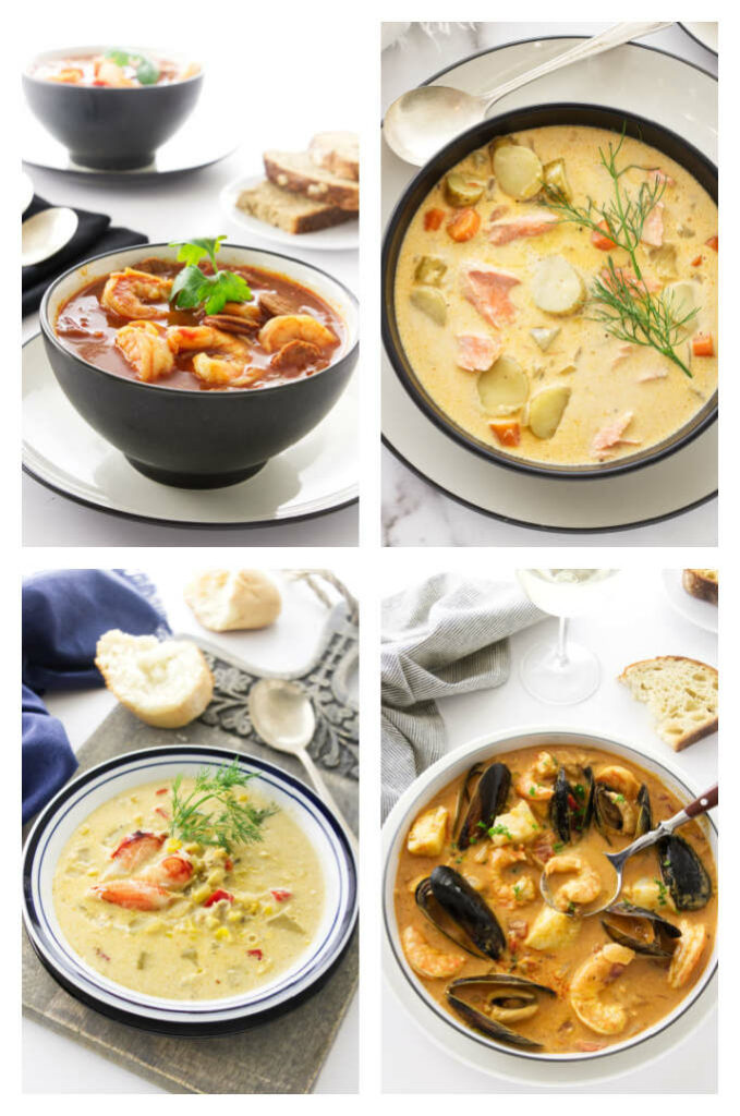 A collage of four photos of seafood based soups.