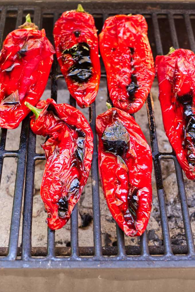 Carmen Italian sweet peppers on a hot grill.