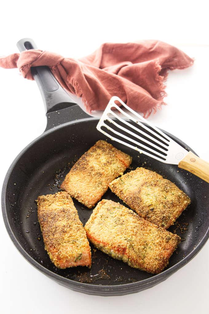 Crisp Salmon fillets in a skillet