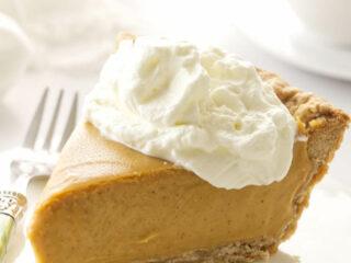 Closeup photo of a slice of Butterscotch Cinnamon Pie