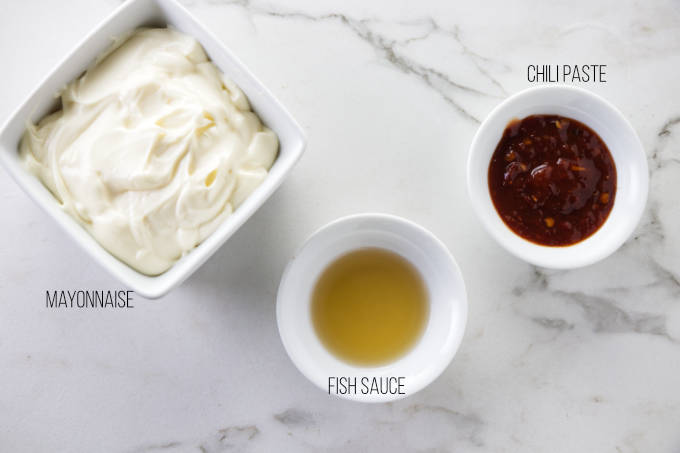 Ingredients used to make chili mayonnaise for a chicken banh mi sandwich.