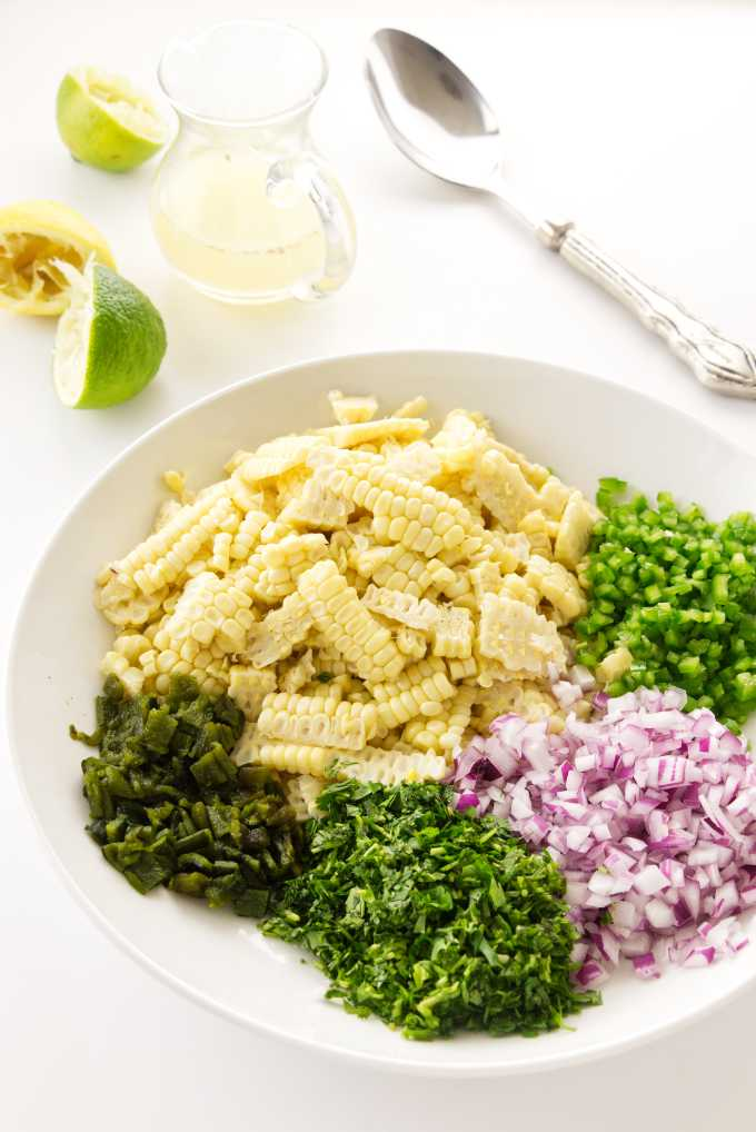 overhead view of chopped ingredients
