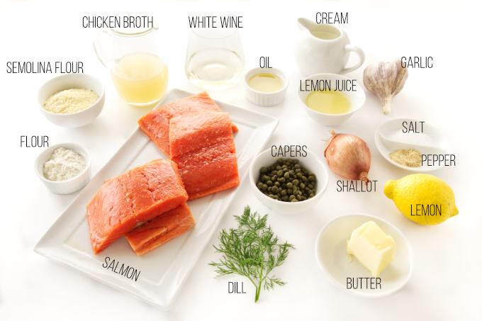 Ingredients for lemon salmon piccata