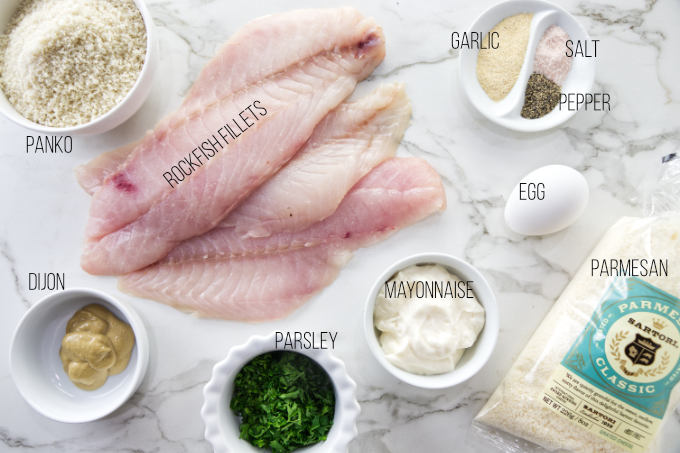 Ingredients needed for pan fried rockfish recipe.