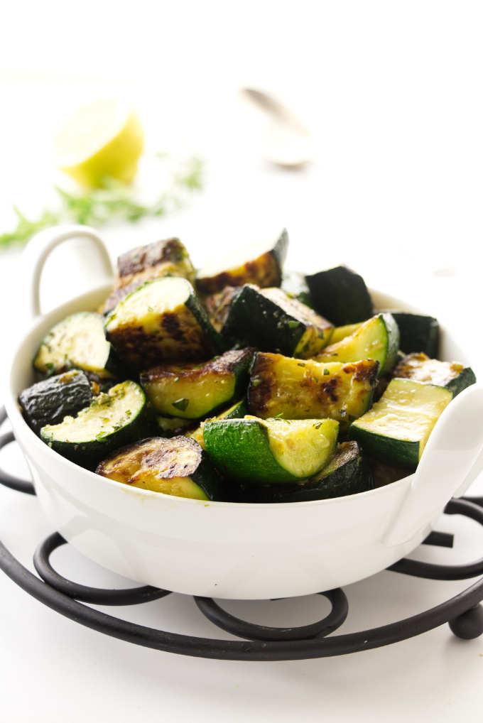 Herbed vegetables in a serving dish.