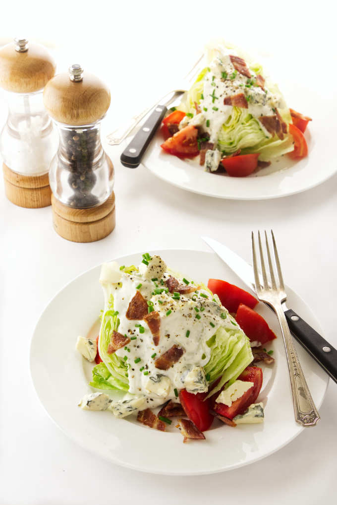 Two serving of classic wedge salad