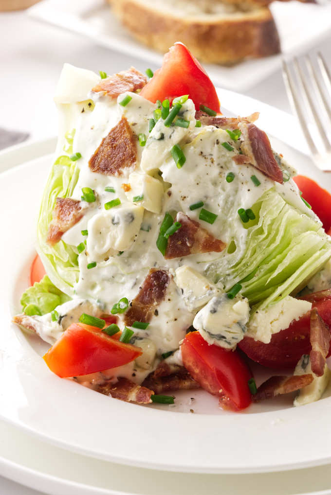 Close up view of a serving of a wedge salad